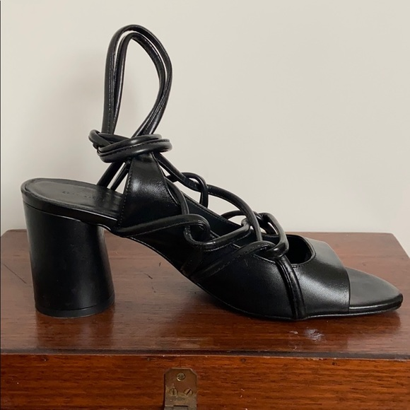 Black lace up leather heels by Zara